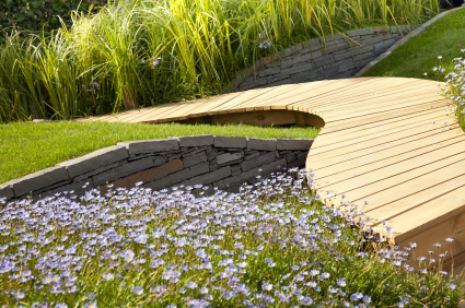 Curved Garden Decking Path